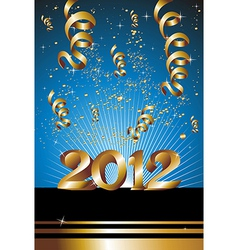 Happy New Year 2012 in blue background vector image