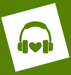 headphones with heart white icon obtained vector image