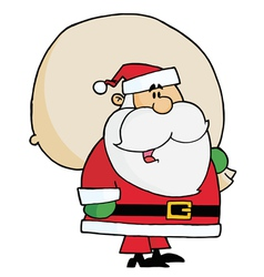 Kris kringle carrying a toy sack vector