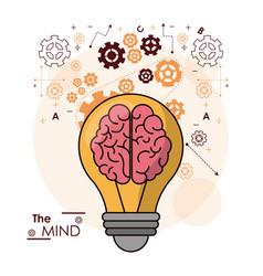 Mind bulb brain gears idea intelligence design vector