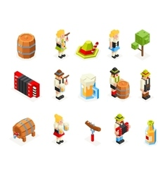 oktoberfest isometric 3d polygon icons set beer vector image vector image
