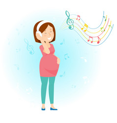 pregnant woman enjoy music vector image