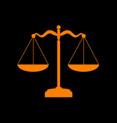 Scales balance sign orange icon on black vector
