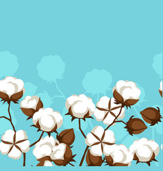 Seamless pattern with cotton bolls and branches vector