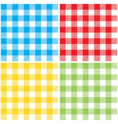Set checkered colors tablecloth seamless pattern vector