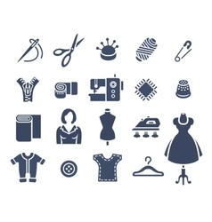 Sewing tools flat silhouette icons vector image