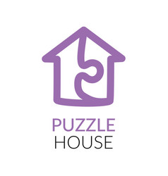 Simple icon of house with puzzle sign within vector