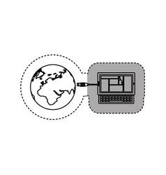 Sticker silhouette laptop global hosting database vector