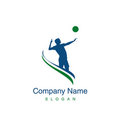 volleyball player logo vector image vector image