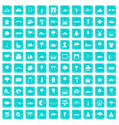 100 view icons set grunge blue vector image vector image