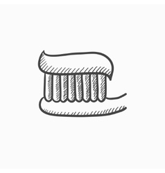 Toothbrush with toothpaste sketch icon vector