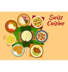 Swiss cuisine traditional dishes flat icon vector