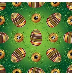 Easter seamless green pattern with painted eggs vector image