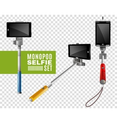 Monopod selfie transparent set vector