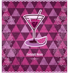 Cocktail vintage mosaic pattern vector image