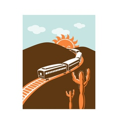Diesel train locomotive retro sun and mountain vector