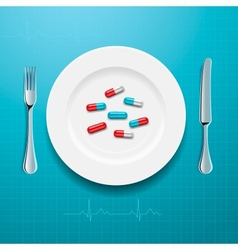 Pills on the plate vector