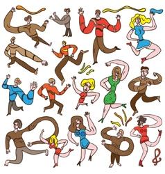 Dancing people - cartoons set vector