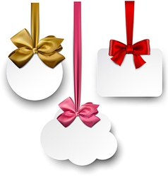 White paper gift cards with satin bows vector