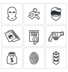 Criminal on the run and wanted icons set vector