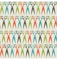 Seamless scissors pattern in vintage colors vector