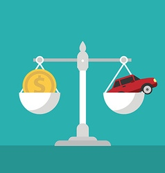 Scales with car and dollar vector