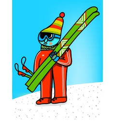 skier cartoon vector image