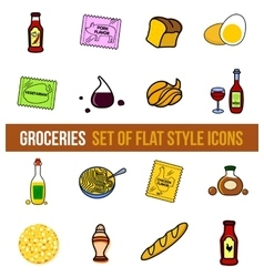 Set of grocery food vector