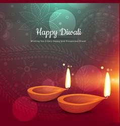 Beautiful happy diwali diya greeting card vector