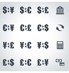 black bank icon set vector image