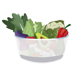 Bowl salad vegetarian menu restaurant food vector