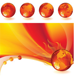 burning globe vector image vector image