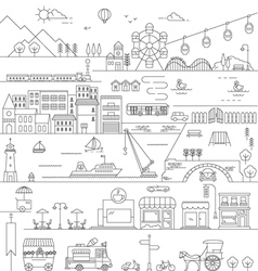 City in line art flat icons style vector