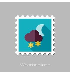 Cloud snow moon flat stamp meteorology weather vector