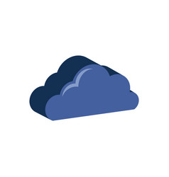 Cloud symbol flat isometric icon or logo 3d style vector
