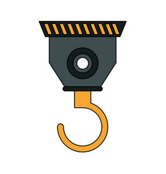 Color silhouette cartoon industrial crane hook vector