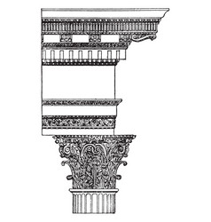 Corinthian order temple of castor and pollux vector