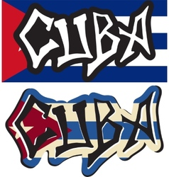 Cuba word graffiti different style vector