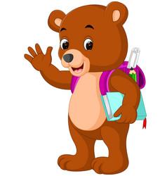 Cute bear go to school cartoon vector