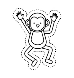 Cute monkey character icon vector