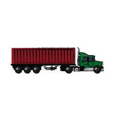 Drawing truck container shipping cargo vector