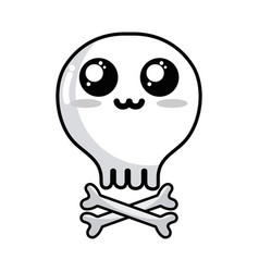 Line kawaii cute tender skull with bones vector