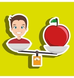 man cartoon fruit apple balance vector image