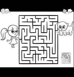 maze with girl and cat for coloring vector image
