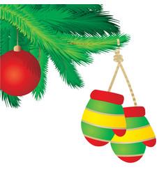 mitten on the fir christmas vector image
