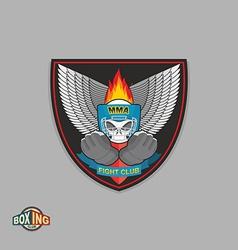 Mixed Martial Arts Labels Skull boxing helmet MMA vector image vector image