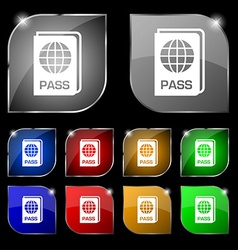 Passport icon sign set of ten colorful buttons vector