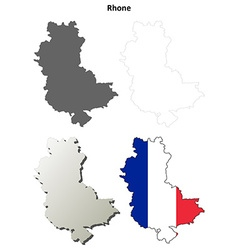 Rhone rhone-alpes outline map set vector