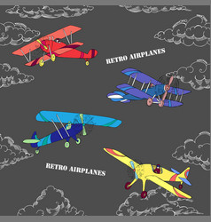 Seaml colors airplanes-05 vector