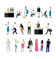 Set of restaurant employees and visitors vector